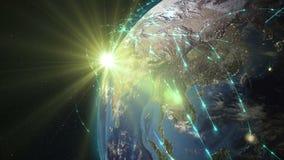 Samenvatting van wereldnetwerk, Internet en globaal verbindingsconcept royalty-vrije illustratie