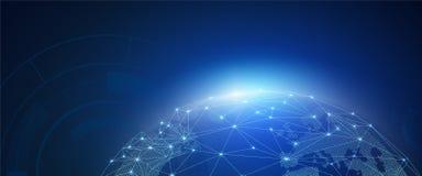 Samenvatting van wereldnetwerk, Internet en globaal verbindingsconcept, vectorkunst en illustratie vector illustratie