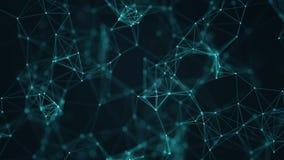 Samenvatting verbonden punten en lijnen op blauwe achtergrond Communicatie en technologienetwerkconcept royalty-vrije illustratie