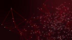Samenvatting verbonden punten op heldere rode achtergrond Het concept van de technologie stock videobeelden