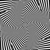 Samenvatting verdraaide achtergrond Optische illusie van vervormde oppervlakte Verdraaide strepen Radiaal patroon vector illustratie