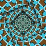Samenvatting verplaatste kaders met een bewegend blauw bruin pijlenpatroon De Achtergrond van de optische illusie stock illustratie