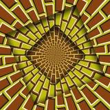 Samenvatting verplaatste kaders met een bewegend geel bruin metselwerkpatroon De Achtergrond van de optische illusie stock illustratie