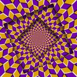 Samenvatting verplaatste kaders met een bewegend geel purper ruitenpatroon De Achtergrond van de optische illusie royalty-vrije illustratie