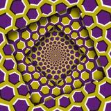 Samenvatting verplaatste kaders met een bewegend geel purper zeshoekenpatroon De Achtergrond van de optische illusie vector illustratie