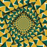 Samenvatting verplaatste kaders met een bewegend groen geel pijlenpatroon De Achtergrond van de optische illusie royalty-vrije illustratie