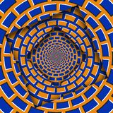 Samenvatting verplaatste kaders met een bewegend oranje blauw metselwerkpatroon De Achtergrond van de optische illusie vector illustratie