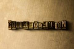 SAMENWERKING - close-up van grungy wijnoogst gezet woord op metaalachtergrond royalty-vrije illustratie