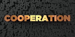 Samenwerking - Gouden tekst op zwarte achtergrond - 3D teruggegeven royalty vrij voorraadbeeld vector illustratie