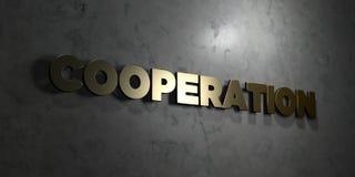 Samenwerking - Gouden tekst op zwarte achtergrond - 3D teruggegeven royalty vrij voorraadbeeld royalty-vrije illustratie