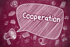 Samenwerking - Hand Getrokken Illustratie op Rood Bord stock illustratie