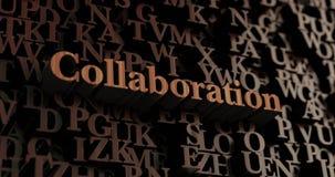 Samenwerking - Houten 3D teruggegeven brieven/bericht royalty-vrije illustratie