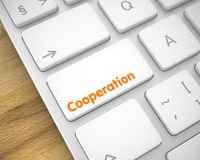 Samenwerking - Inschrijving op Witte Toetsenbordknoop 3d royalty-vrije illustratie