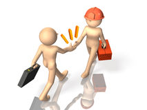 Samenwerking met ingenieurs en zakenlieden royalty-vrije illustratie