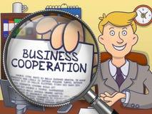 Samenwerking tussen bedrijven door Magnifier Krabbelconcept vector illustratie
