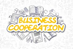 Samenwerking tussen bedrijven - Krabbel Gele Tekst Bedrijfs concept stock illustratie