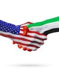 Samenwerking van het de vlaggenconcept van Verenigde Staten, de Verenigde Arabische Emiraten, zaken, sporten royalty-vrije illustratie