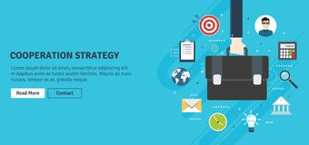 Samenwerkingsstrategie, bedrijfsvisie en leiding stock illustratie