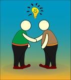 Samenwerkingszaken en handdrukpictogram royalty-vrije illustratie
