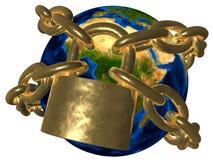 Samenzwering - Aarde in gouden ketting - Europa Royalty-vrije Stock Afbeeldingen