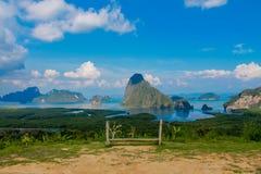 Samet Nang She beautiful sea and islands bay viewpoint in Thailand stock photos