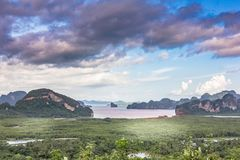 Samet Nang She View Point, Islands, Phang Nga, Thailand. Samet Nang She View Point and bright sky, Islands, Phang Nga, Thailand Royalty Free Stock Photos