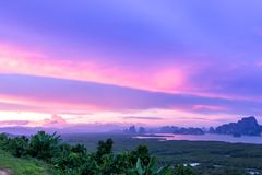 Samet Nang She View Point, Islands, Phang Nga, Thailand. Sunset at Samet Nang She View Point, Islands, Phang Nga, Thailand Stock Photos
