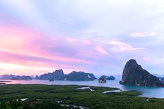Samet Nang She View Point, Islands, Phang Nga, Thailand. Sunset at Samet Nang She View Point, Islands, Phang Nga, Thailand Stock Photo