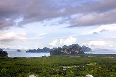 Samet Nang She View Point on the mountain by the sea, Islands, P. Hang Nga, Thailand Stock Images