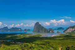 Beautiful islands at Pha Nga Bay in Thailand royalty free stock photography