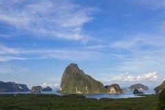 Samet-nang-zij mooi landschapsoriëntatiepunt in Phang-nga, Thailand Royalty-vrije Stock Foto's