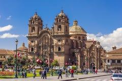 Samhälle av den Jesus kyrkaplazaen de Armas Cuzco Peru Arkivbild