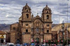 Samhälle av den Jesus kyrkaplazaen de Armas Cuzco Peru Arkivfoto