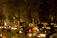 Samhain night. An old cemetery in Poland on Samhain night Royalty Free Stock Photography
