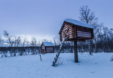 Sami camp in Abisko National Park, Sweden Royalty Free Stock Photography