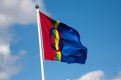 Sami flag. Flag of the sami people of northern Scandinavia Royalty Free Stock Photo