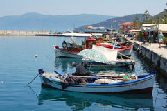 Sami Harbor. SAMI, KEFALONIA - MAY, 23: view of the harbor and fishing boats in Sami, Kefalonia on May 23, 2009. Sami was made famous as the film location for Royalty Free Stock Image