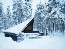 Sami house in Winter Lapland Finland.  Royalty Free Stock Image