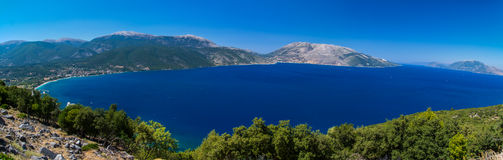 Sami. Panorama from old Sami to new city and a part of Kefalonia Royalty Free Stock Photos