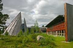 The Sami Parliament in Karasjok. The Sami Parliament of Norway (Sámediggi) is the representative body for people of Sami heritage in Norway. The peaked Royalty Free Stock Images
