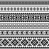 Sami  seamless pattern, Lapland folk art, traditional knitting and embroidery monochrome design. Sami people clothing patterns from Norway, Sweden, Finland, and Royalty Free Stock Photos