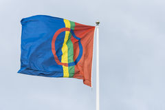 Sami or Sapmi flag. The Sami or Sapmi flag. Sami people of northern Scandinavia. Mattmar, Jamtland, Sweden Royalty Free Stock Photo