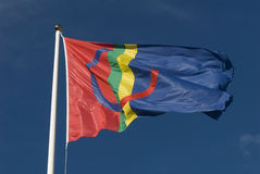 Sami or Sapmi flag. The Sami or Sapmi flag. Sami people of northern Scandinavia. Storulvån, Jamtland, Sweden Royalty Free Stock Photography