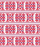 Sami seamless  design, Lapland cross-stitch  pattern, folk art Scandinavian, Nordic style. Retro patterns from Norway, Sweden, Finland, and the Murmansk Oblast Stock Photo