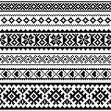 Sami  seamless pattern, Lapland folk art, traditional knitting and embroidery monochrome design Royalty Free Stock Photos