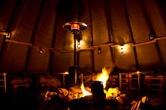 Sami Tent. An interior view of a traditional Sami lavvu, or tent Royalty Free Stock Images