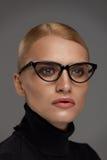 samica okulary tła nadmiar białych Piękna kobieta W szkłach, Eyewear fotografia stock