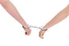 Samiec i kobieta zakładający kajdanki Zdjęcie Royalty Free