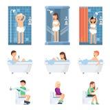 Samiec i kobiety bierzemy prysznic w łazience Płaskie ilustracje mieszkanie zaludniają royalty ilustracja