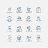 Samiec i kobiety kreskowe ikony Zdjęcia Stock